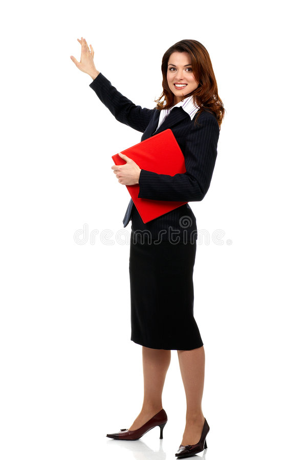 Business woman. Happy successful business woman. Isolated over white background royalty free stock images