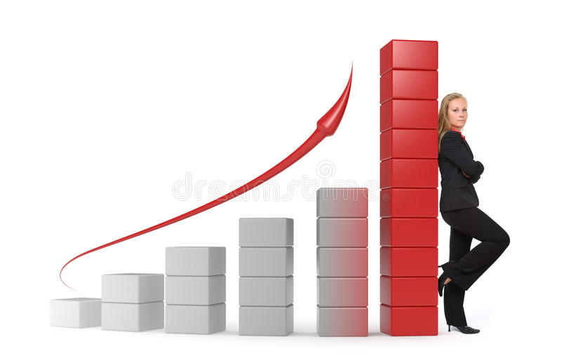 Business woman - 3d graph