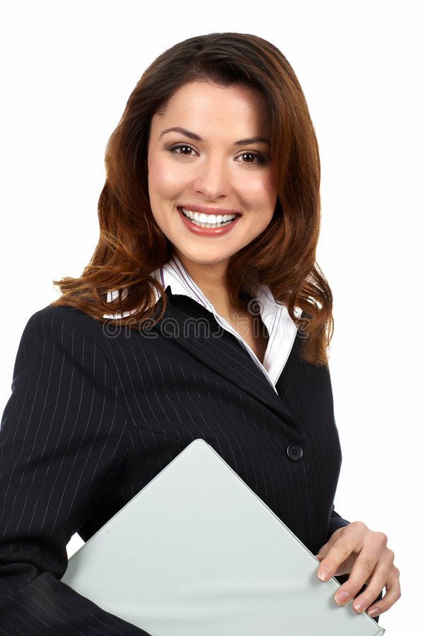 Business woman. Young smiling business woman. Isolated over white background stock image
