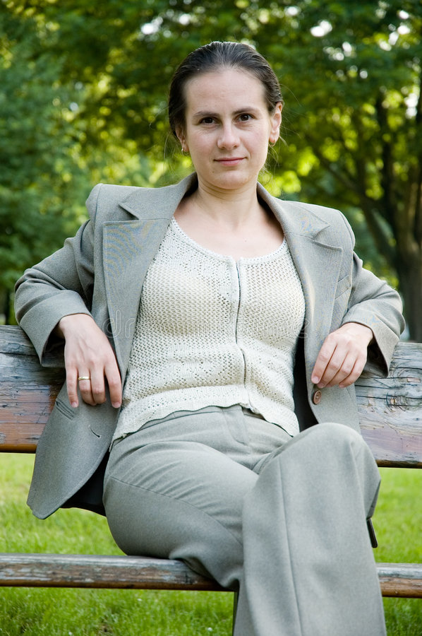 Business woman. In the park stock images