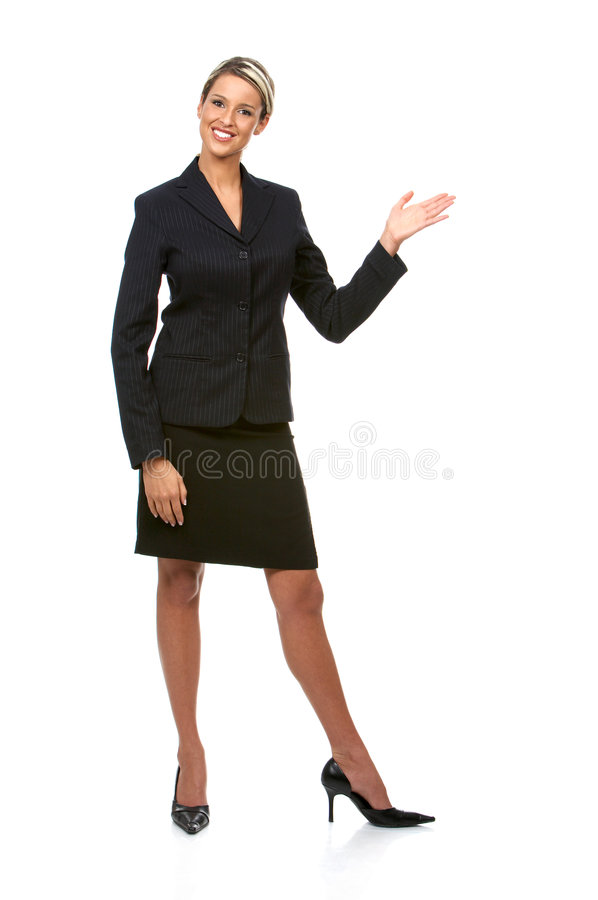 Business woman. Young smiling business woman. Isolated over white background stock photo