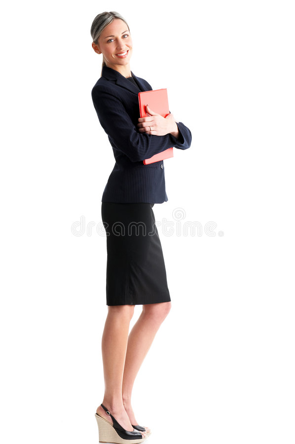 Business woman. Young smiling business woman. Isolated over white background stock photos