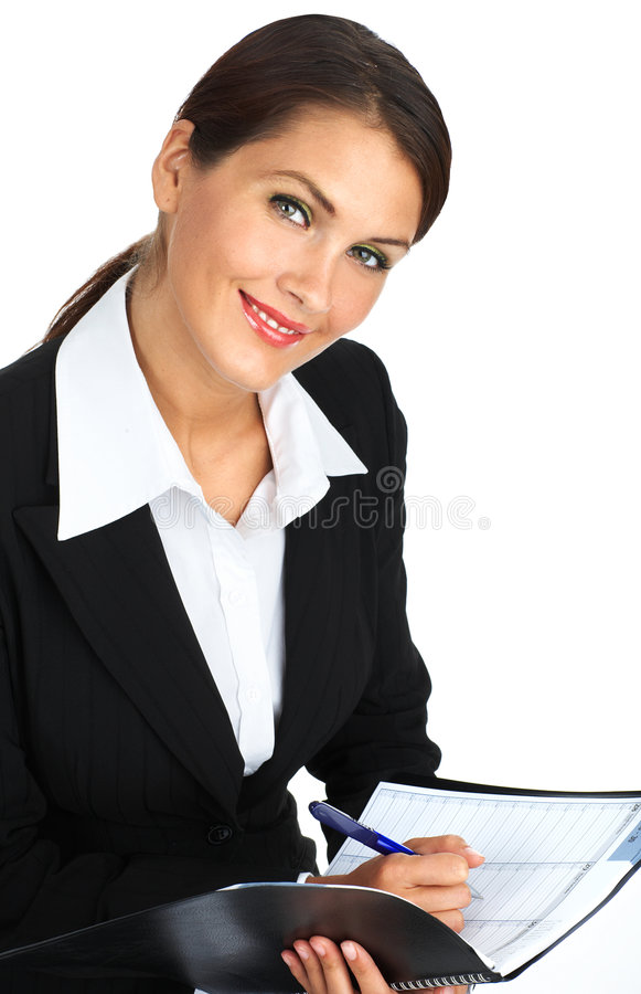 Business woman. Smiling business woman. Isolated over white background stock photography