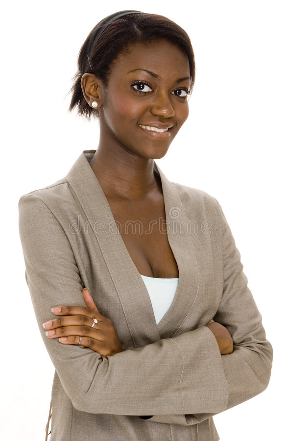 Business Woman. A young black business woman on white background royalty free stock images