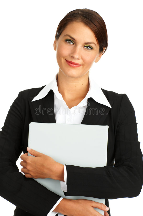 Business woman. Smiling business woman. Isolated over white background stock photos