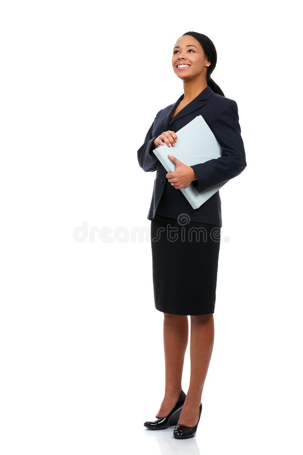 Business woman. Smiling business woman. Isolated over white background stock image