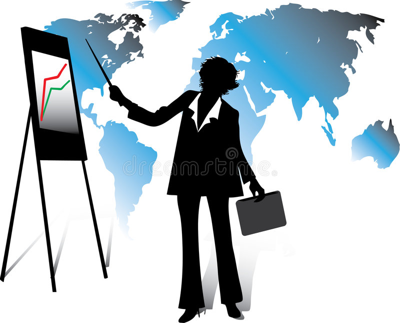 Business woman. Standing, showing document with chart on a whiteboard and explaining the business strategy stock illustration