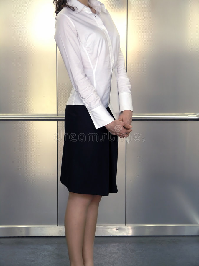 Business woman. With folede royalty free stock photo