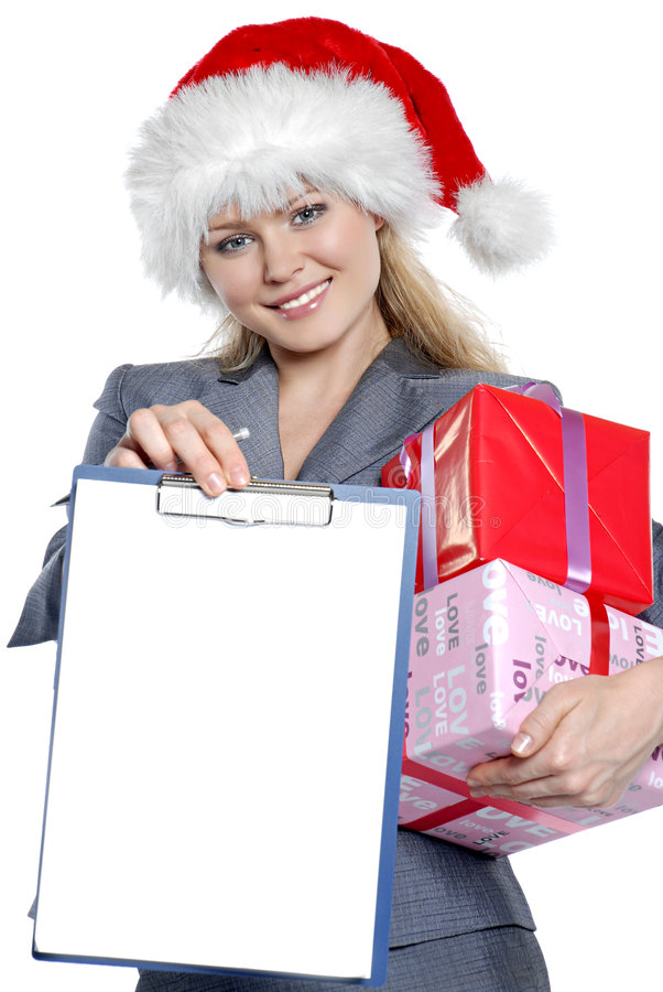 Download Business-woman stock image. Image of xmas, white, beauty - 7093633