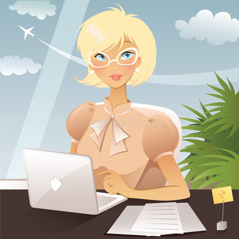 Business woman. Working in office vector illustration