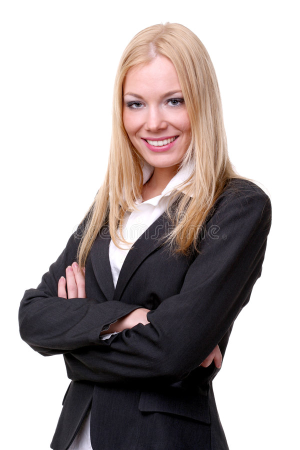 Business woman. Young blond business woman in suite smiling. isolated on white stock photography