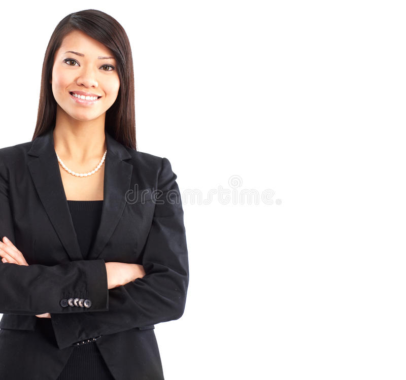 Business woman. Smiling business woman. Isolated over white background royalty free stock photos