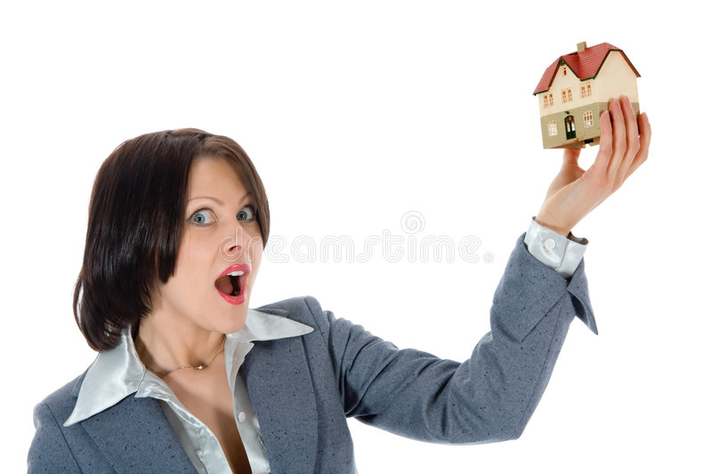 Business woman advertises real estate royalty free stock photo