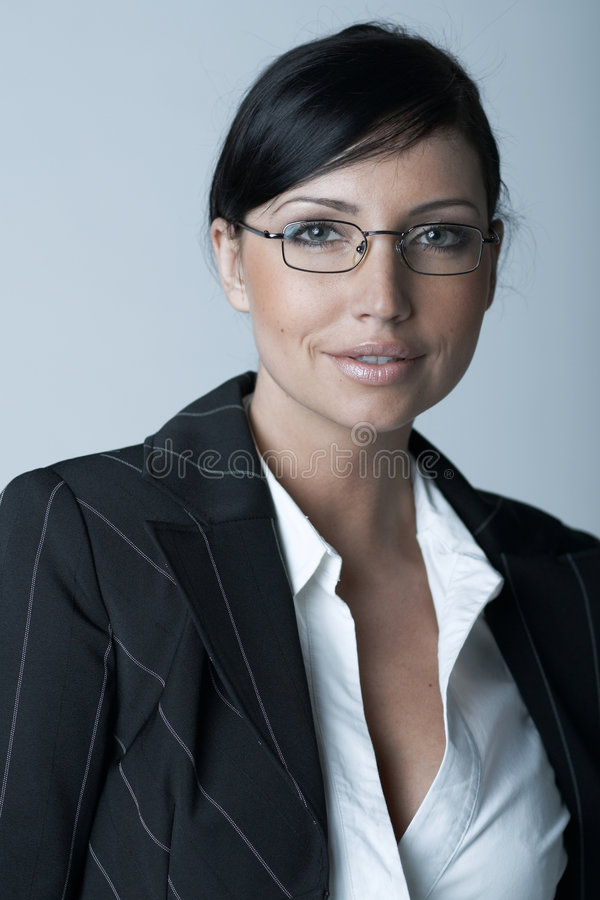 Business Woman Ag. Beautiful and brunette business woman isolated on clear background royalty free stock photos