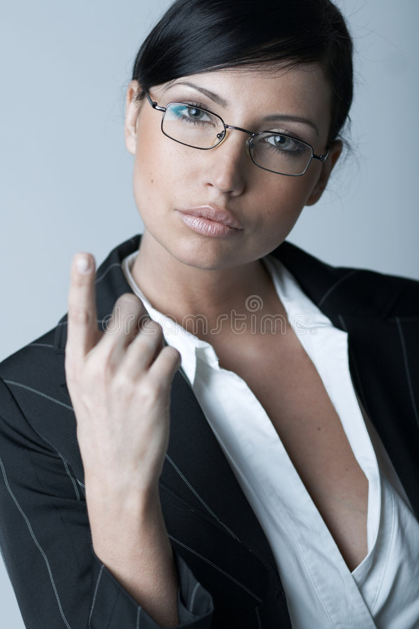 Business Woman Ag. Beautiful and brunette business woman isolated on clear background royalty free stock images