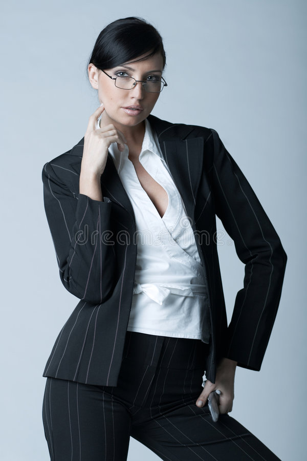 Business Woman Ag. Beautiful and brunette business woman isolated on clear background stock image