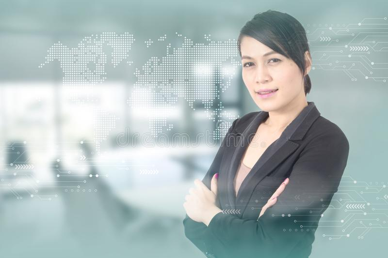 Business woman with against high tech background stock photo