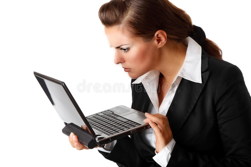 Download Business Woman Amazedly Looks In Laptops Screen Stock Image - Image: 16515889