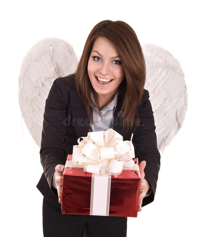 Download Business Woman  Angel With Christmas Red Box. Stock Image - Image of fantasy, businesslady: 10950357
