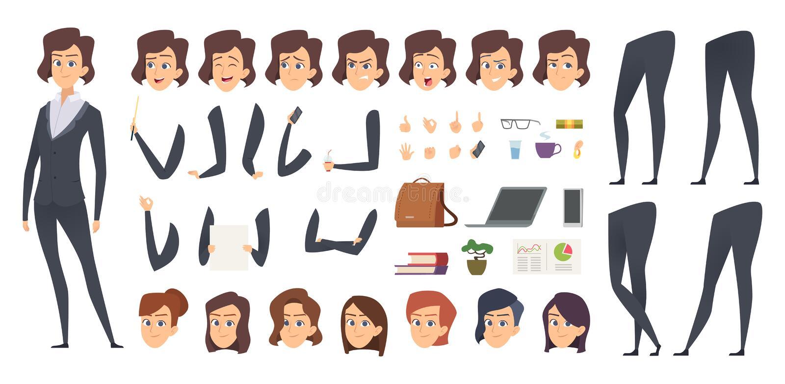 Business woman animation. Creation kit female manager body parts and office tools vector character constructor stock illustration