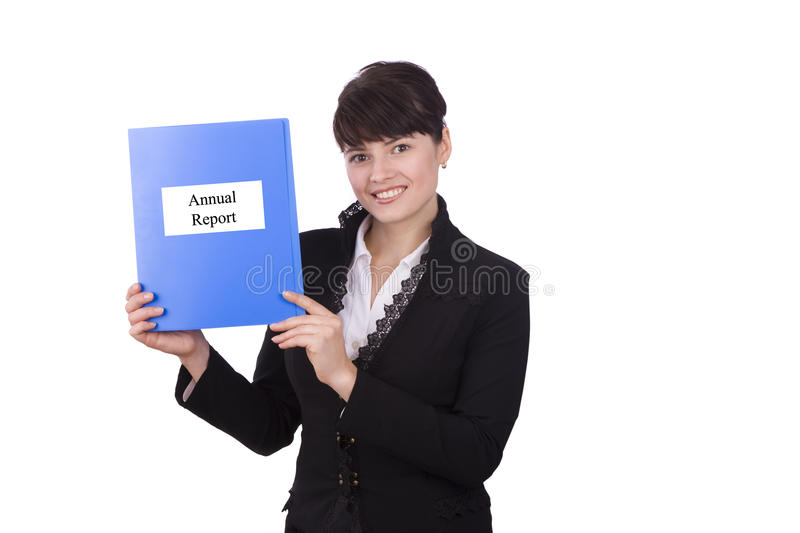 Download Business Woman With Annual Report Stock Photo - Image: 11396388