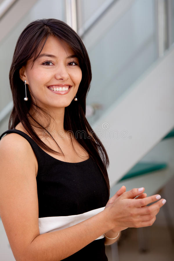 Download Business woman applauding stock image. Image of girl - 15653359