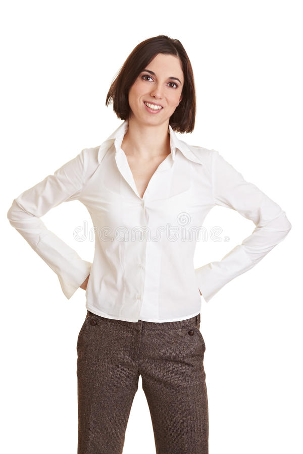Business Woman With Arms Akimbo Royalty Free Stock Photo