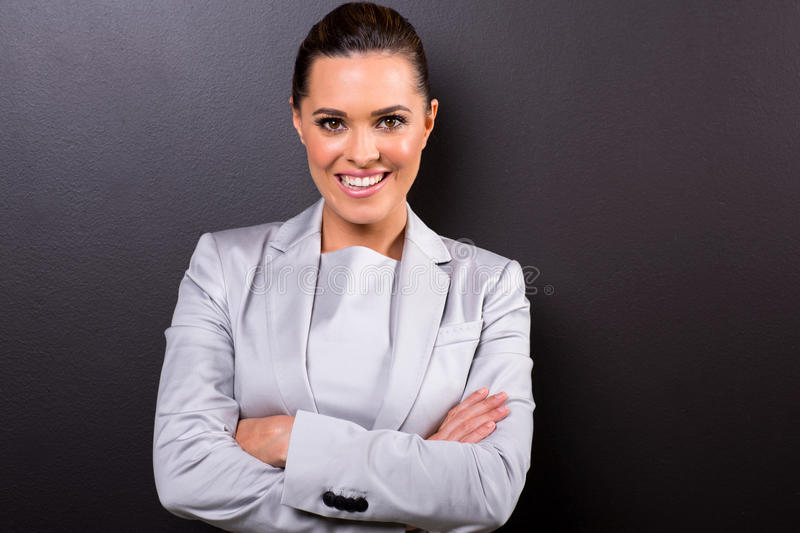Business woman arms folded royalty free stock images