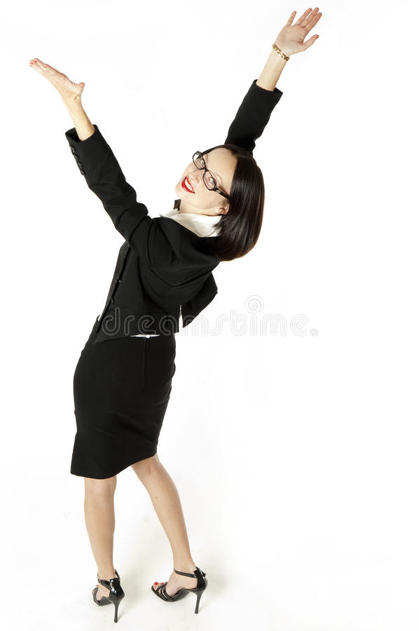 Business woman with arms raised royalty free stock image