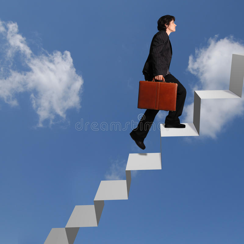 Business Woman Ascending Stairs Royalty Free Stock Images