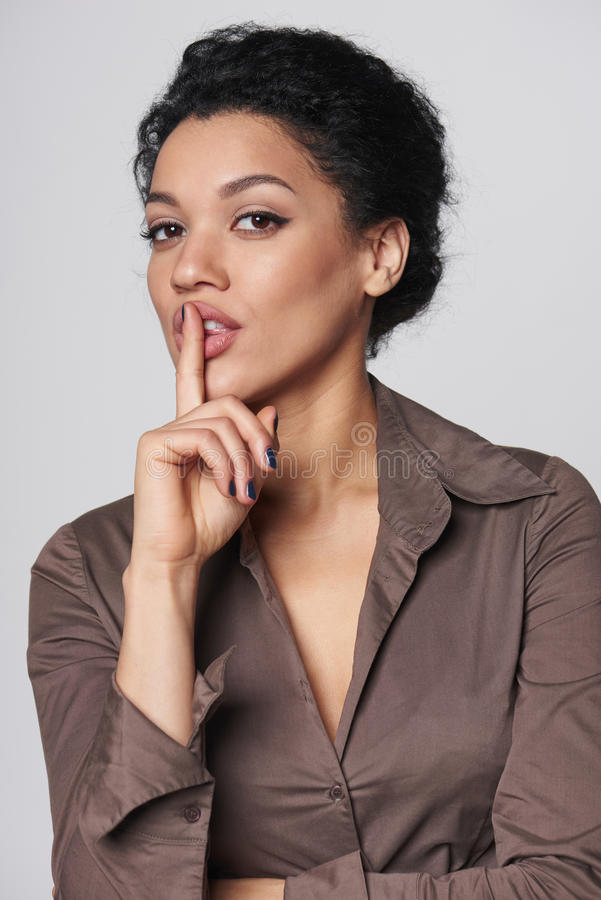 Business woman asking for silence stock photos