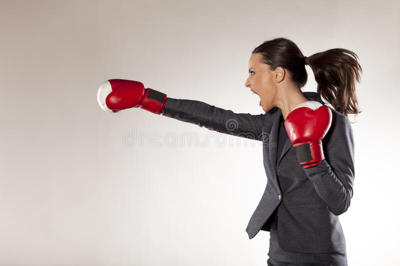 Business woman attack royalty free stock photos