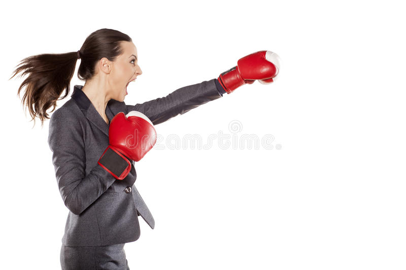 Business woman attack stock photo