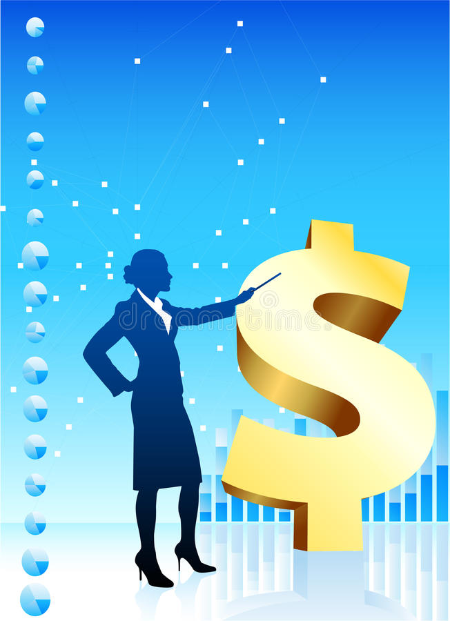 Business woman on background financial charts. Original Vector Illustration: Business woman on background with financial charts and golden dollar File is AI8 vector illustration