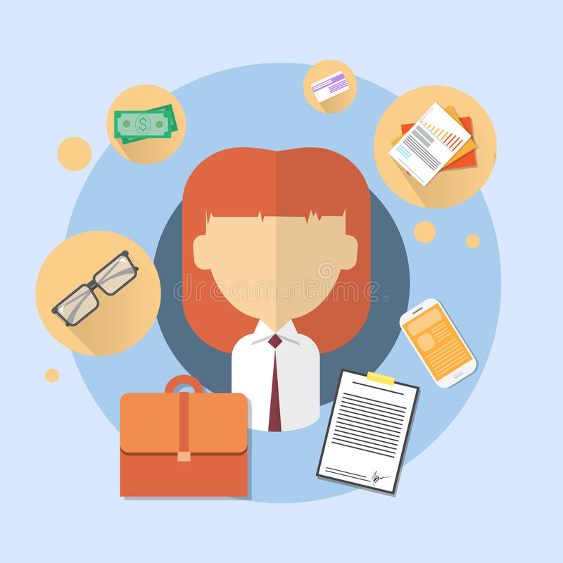 Business Woman Bank Office Worker Icon vector illustration