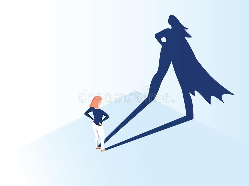 Business woman with big shadow superhero. Super manager leader in business. Concept of success, quality of leadership. vector illustration
