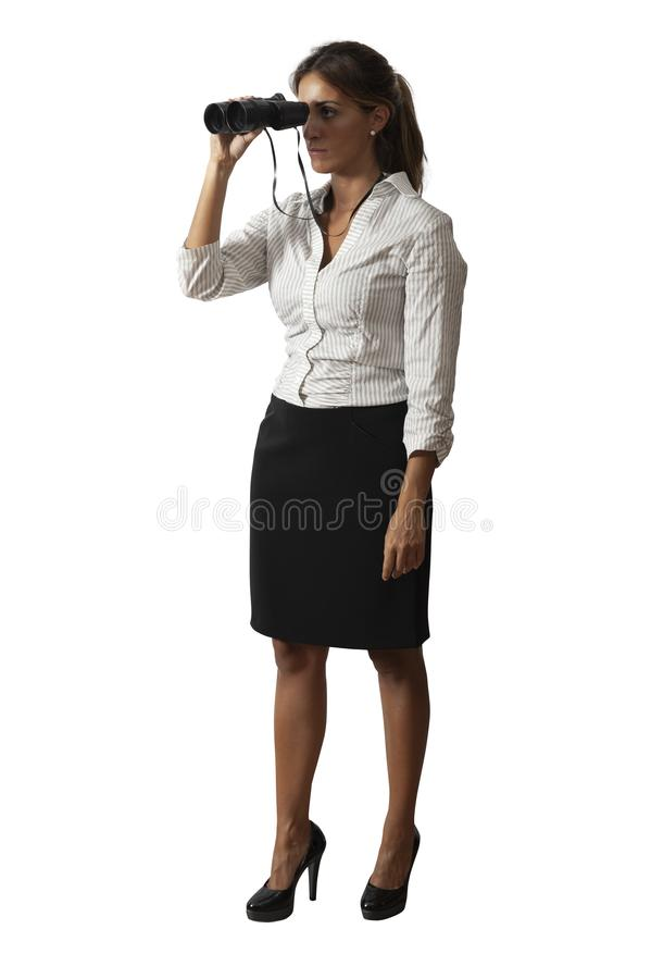 Business woman with binocular on white background royalty free stock photography