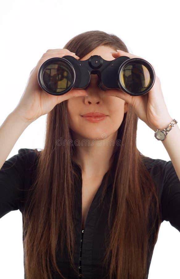 Business woman with binoculars royalty free stock photos