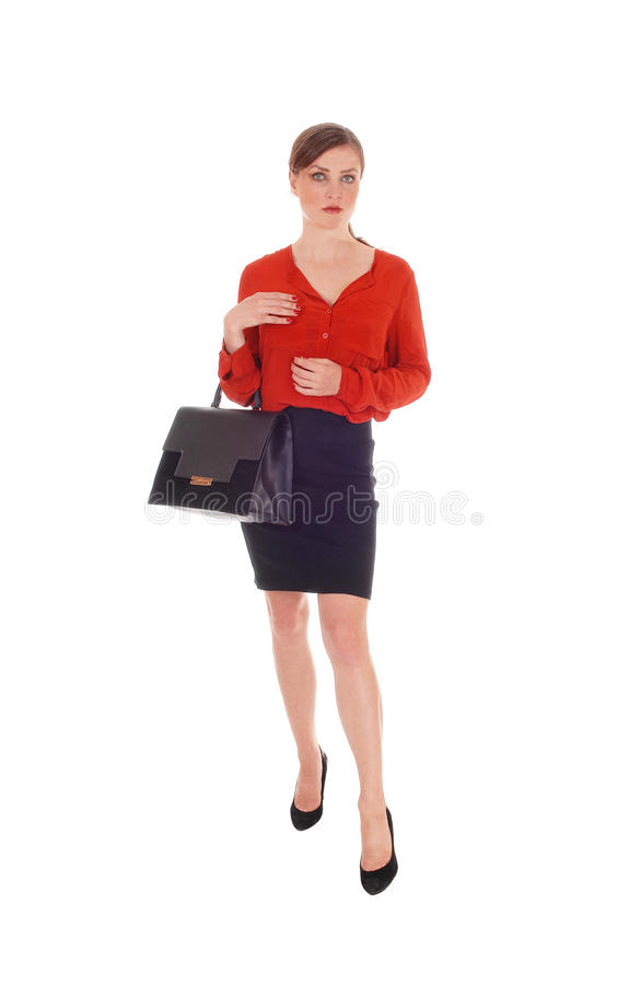 Business woman with black purse. royalty free stock photography