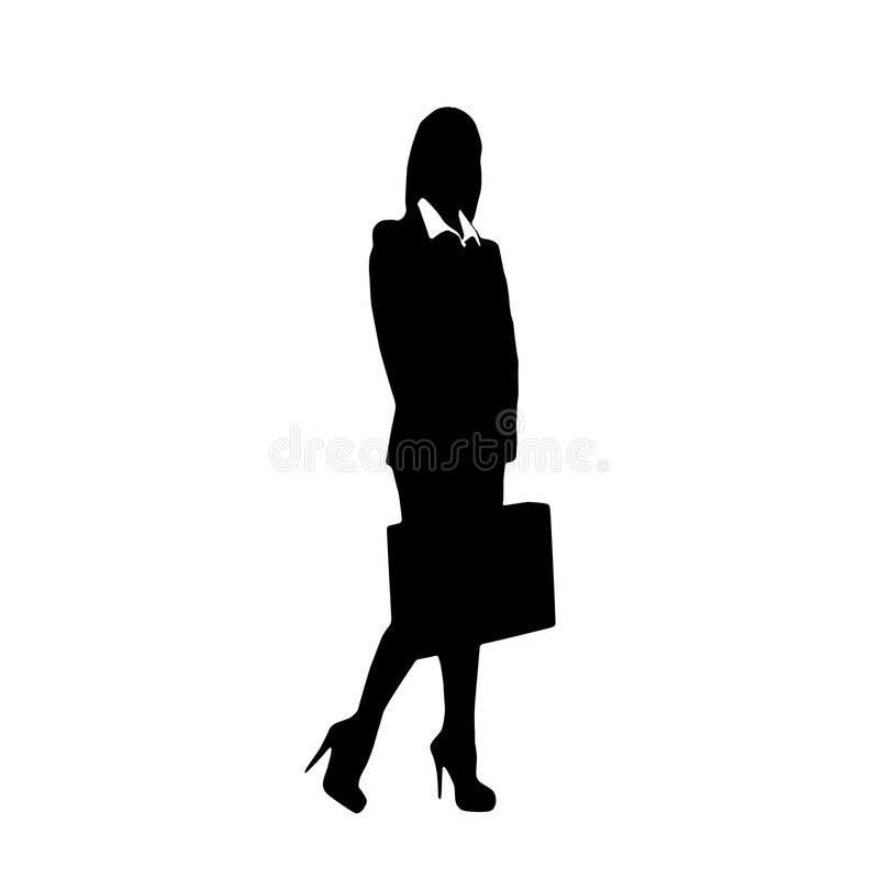 Business Woman Black Silhouette Hold Briefcase Stock