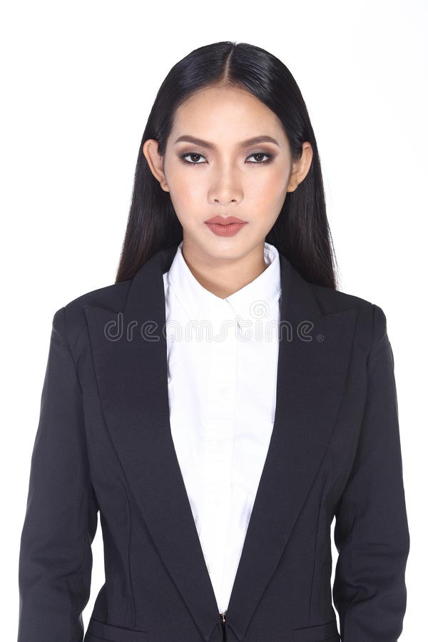 Business woman in black suit and trouser long hair. Studio lighting white background isolated, portrait half body stock images