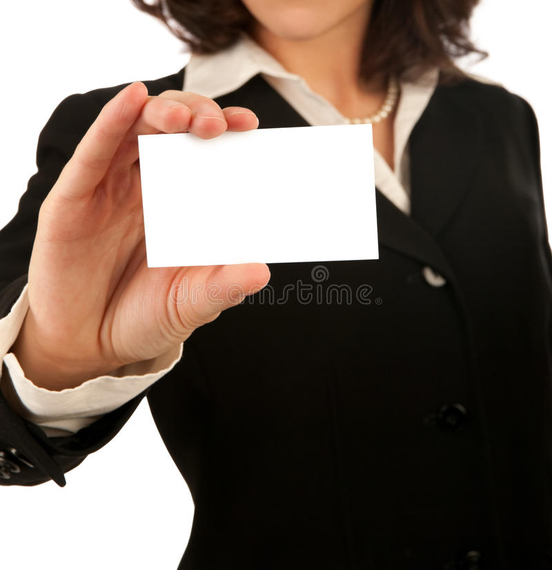 Business Woman with Blank Card. Business woman showing a blank white business card stock photo
