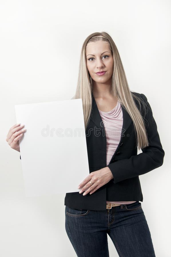 Download Business Woman With  Blank Sign Stock Image - Image: 25541811