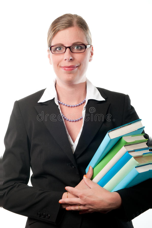 Business woman with books royalty free stock photo