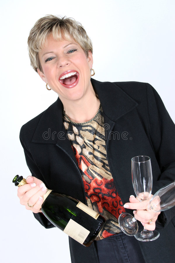 Business Woman with Bottle of Champange stock photos