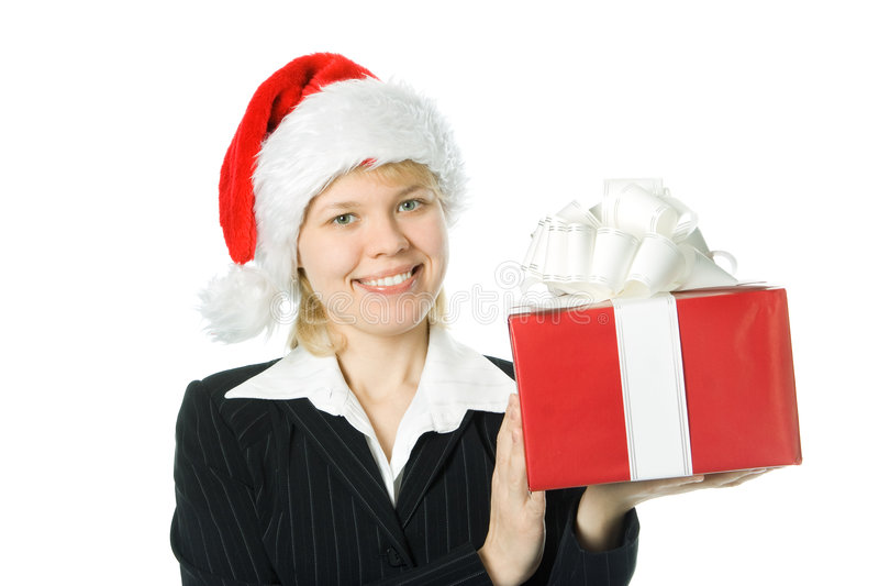 Business woman with box gift royalty free stock image