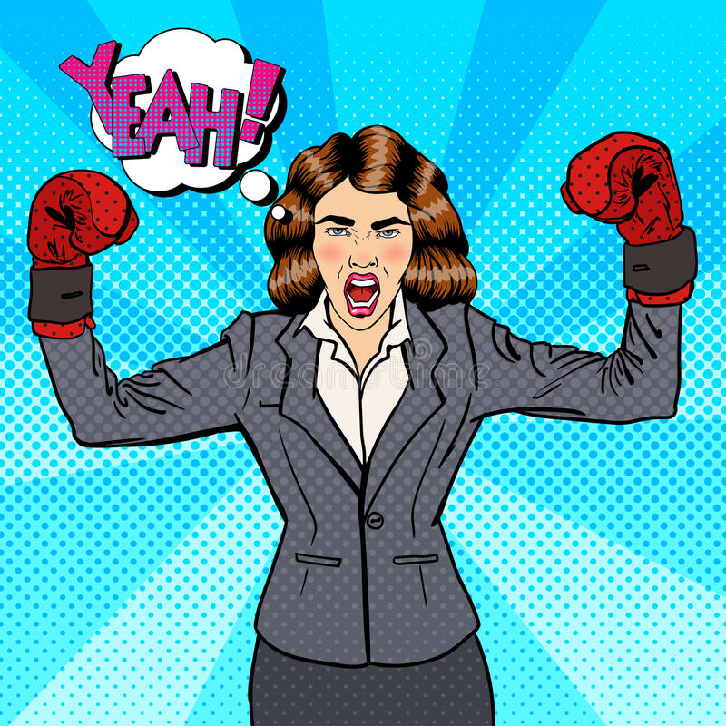Business Woman in Boxing Gloves Celebrating Success in Business. Pop Art. Vector illustration royalty free illustration
