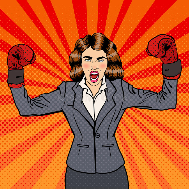 Business Woman in Boxing Gloves Celebrating Success in Business. Pop Art. Vector illustration vector illustration