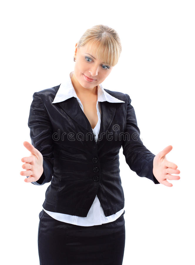 Business Woman Bragging About The Size Of Somethin Stock Photography