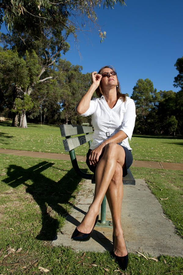 Business Woman Break in Park stock images
